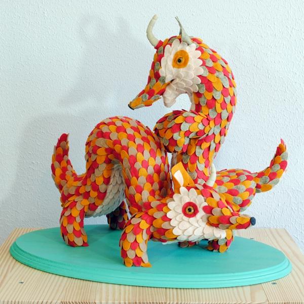 Art Toy de Horrible Adorables Dueling Squeasels de Fieltro
