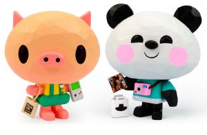 Toy panda y cerdo de madera