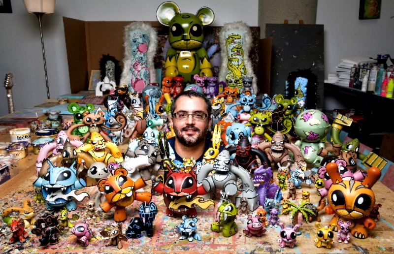 Joe Ledbetter with all his Art Toys