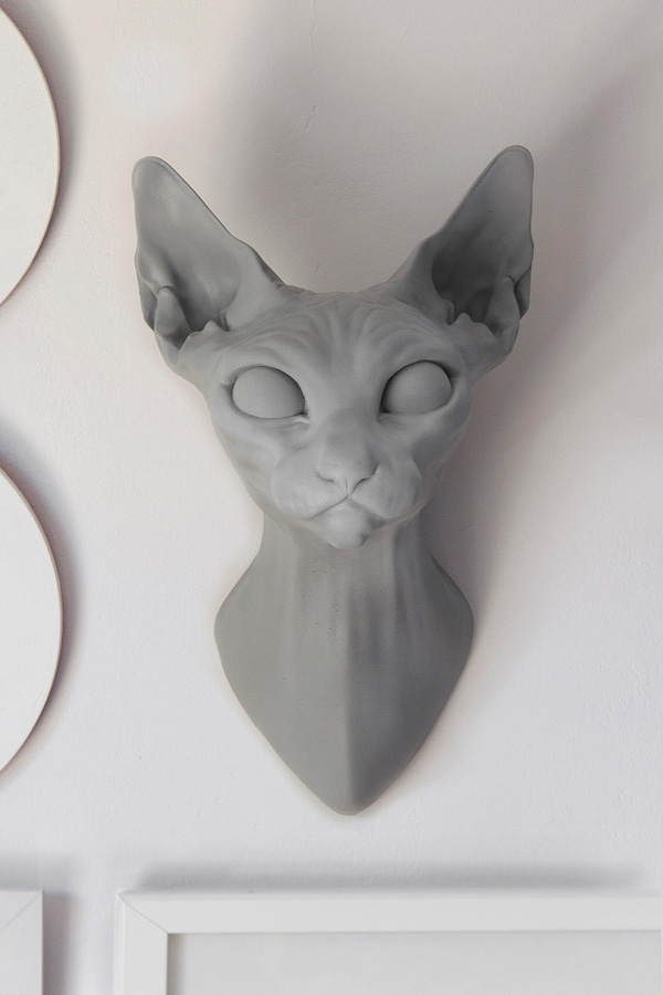Art Toy Gargoyle Cat Head busto