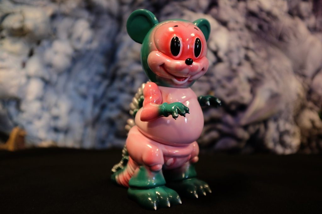 Mousezilla Pink Green Ron English Popaganda Sofubi