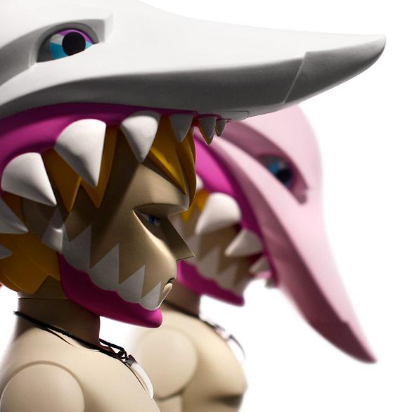 Art Toy Jaws del estudio Coarse blanco y rosa