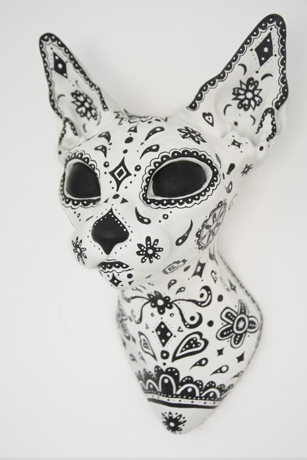 Art Toy Catrina Cat Head Juan Blu mexican