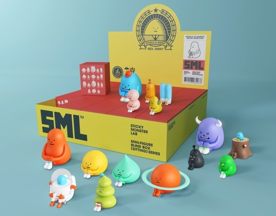 Sticky Monster Lab Mini Figure Blind Box Sitting Series Display