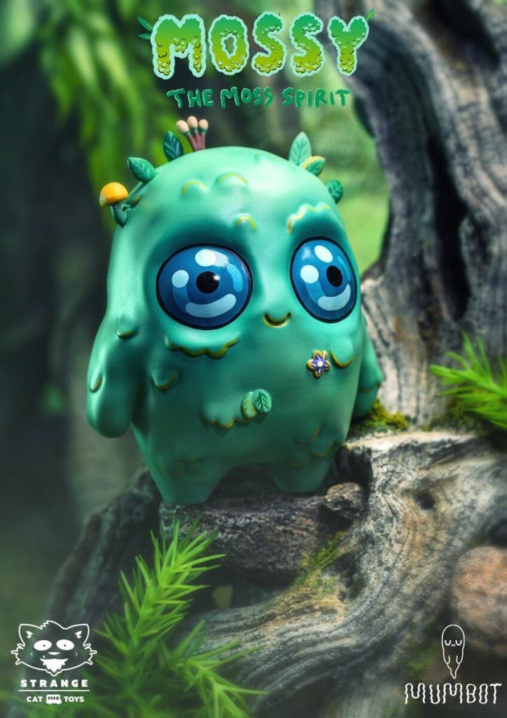Mossy the moss spirit Mumbot Sofubi Strangecat Toys
