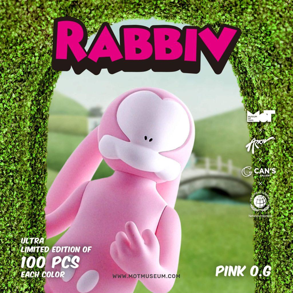 Rabbiv Vinyl Toy Arkiv Vilmansa Museum of Toys Pink OG